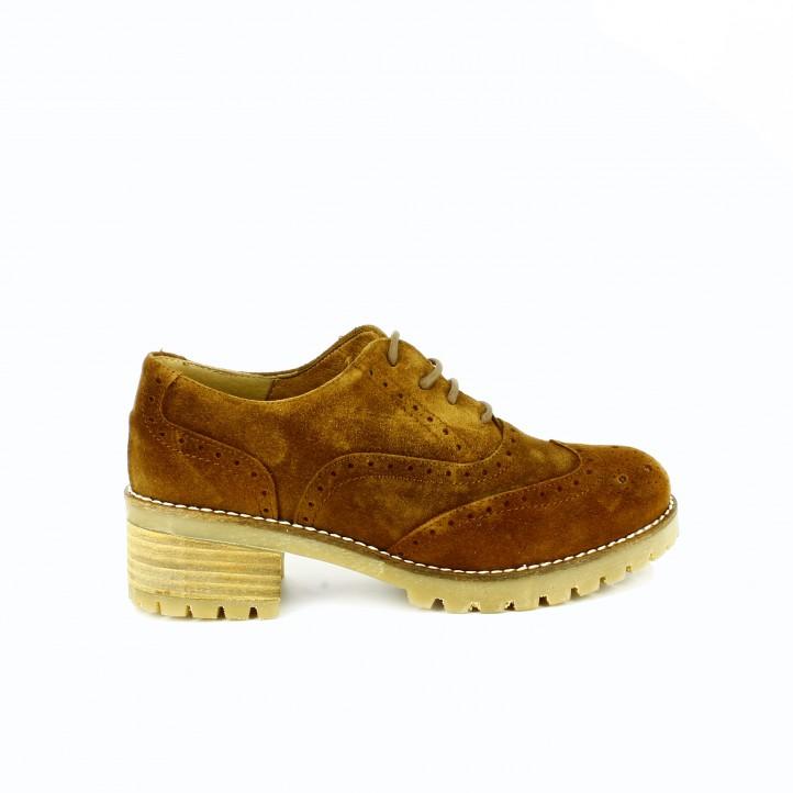 zapatos tacon redlove oxford marrones de piel con brogue - segundas rebajas de zapatos