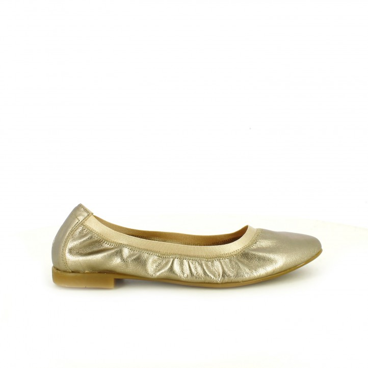 bailarinas gioseppo doradas de piel con goma