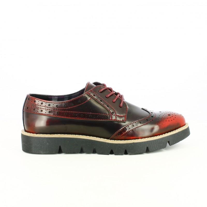 zapatos planos maria mare bluchers burdeos con brogue