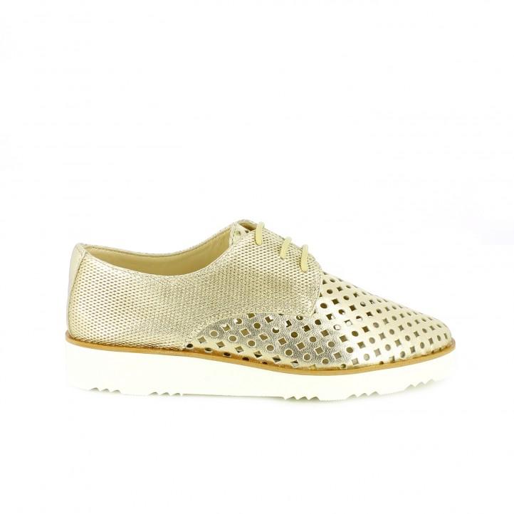 zapatos que amarás - zapatos planos suite009 bluchers dorados con agujeros