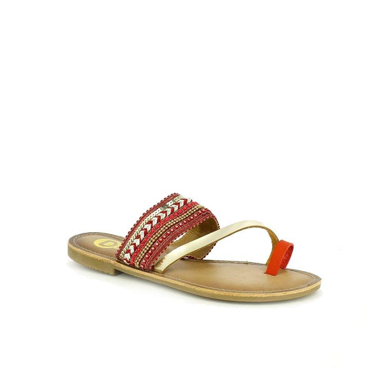 zapatos de fiesta / sandalias planas deity boho rojas y doradas