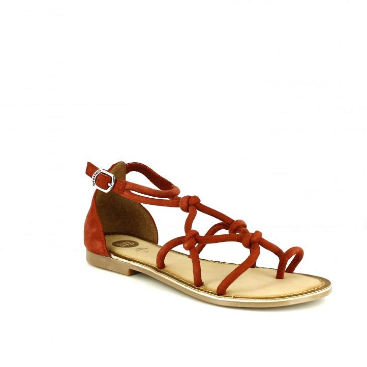 zapatos de fiesta /sandalias planas gioseppo rojas de piel