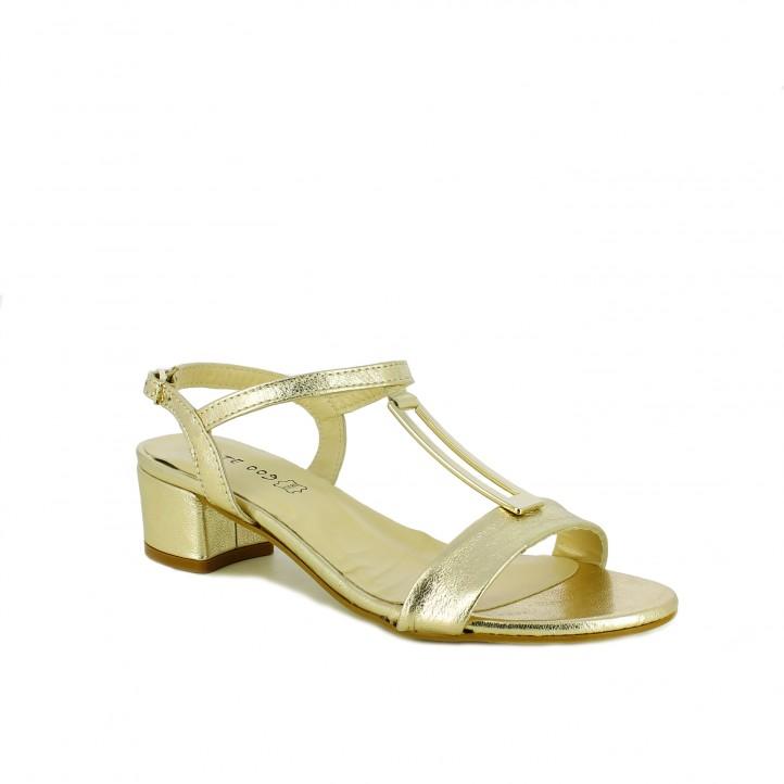 zapatos de fiesta /sandalias tacon suite009 doradas de piel tacon bajo