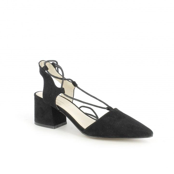 zapatos de fiesta / zapatos tacon chika10 negros abiertos con cordones