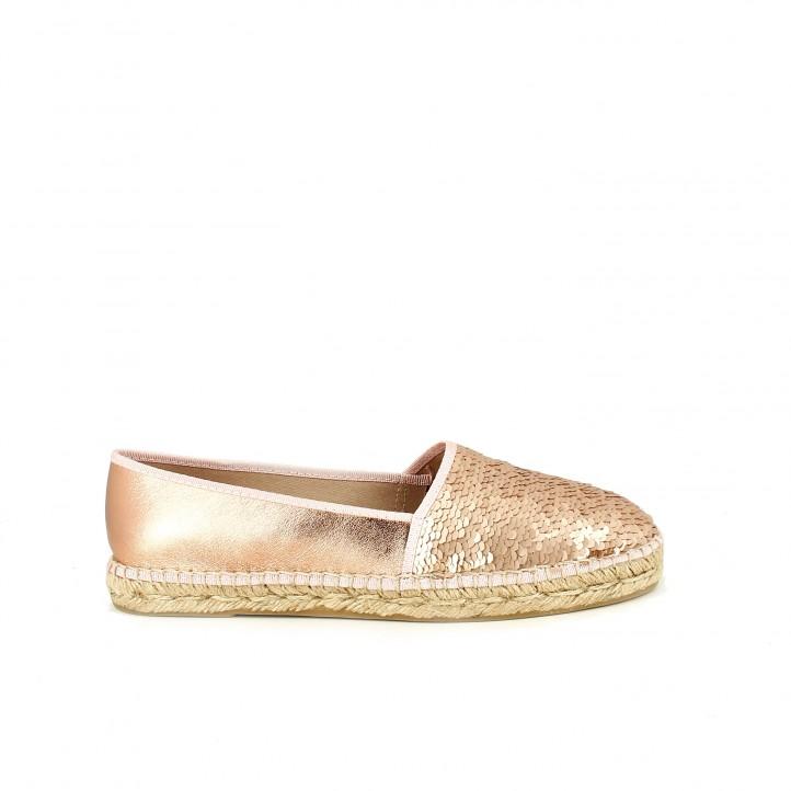 diccionario de zapatos: alpargatas viguera metalizadas con lentejuelas