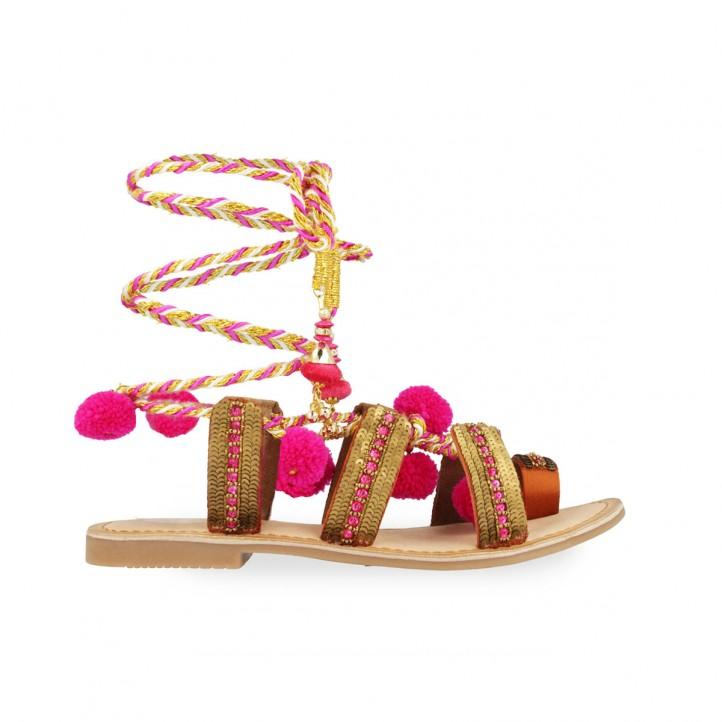 sandalias planas gioseppo doradas con pompones rosas