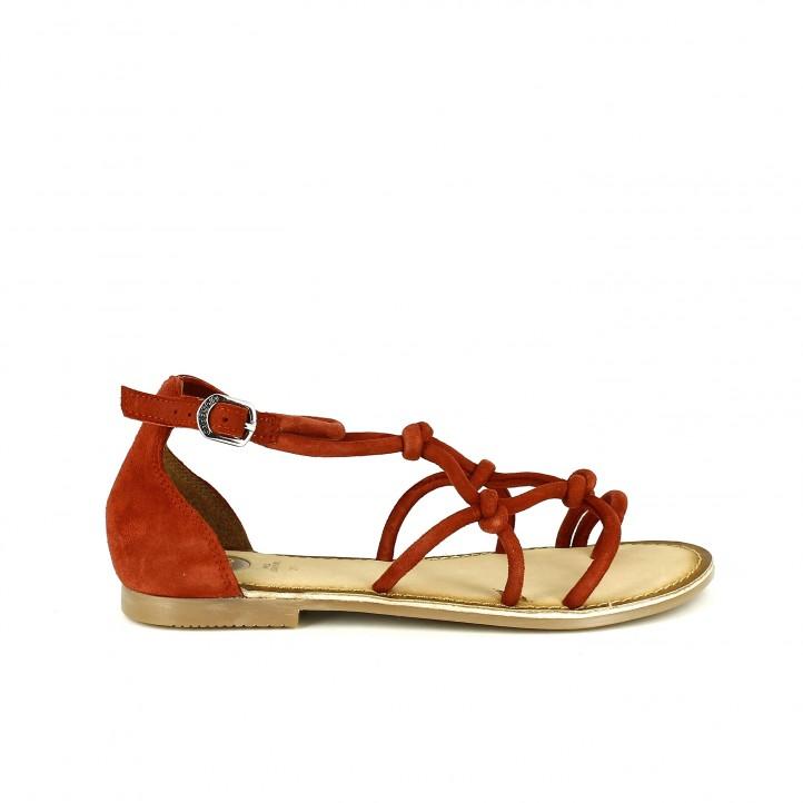 sandalias planas gioseppo rojas de piel