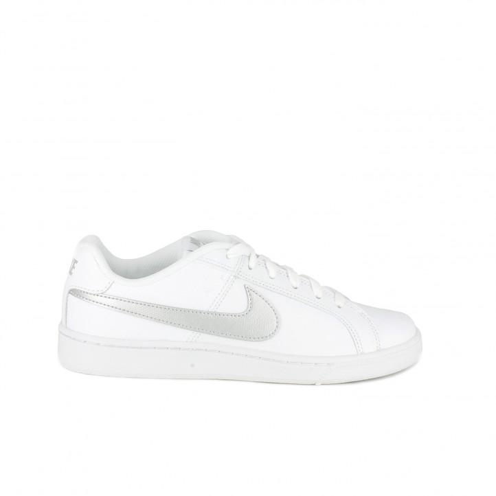 zapatillas deportivas nike court royale blancas y plateadas