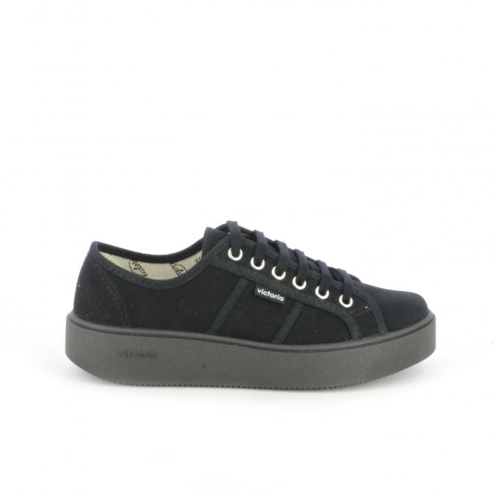 zapatillas lona victoria negras de plataforma