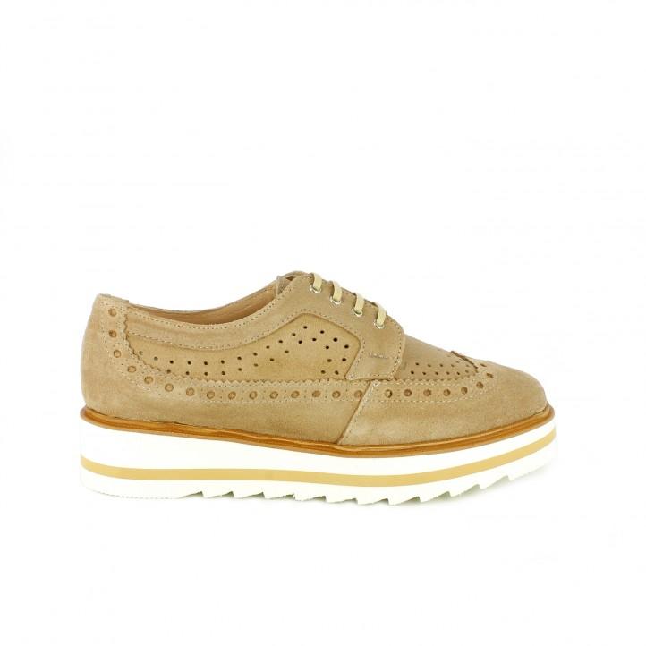 diccionario de zapatos: zapatos planos redlove bluchers de piel con brogue