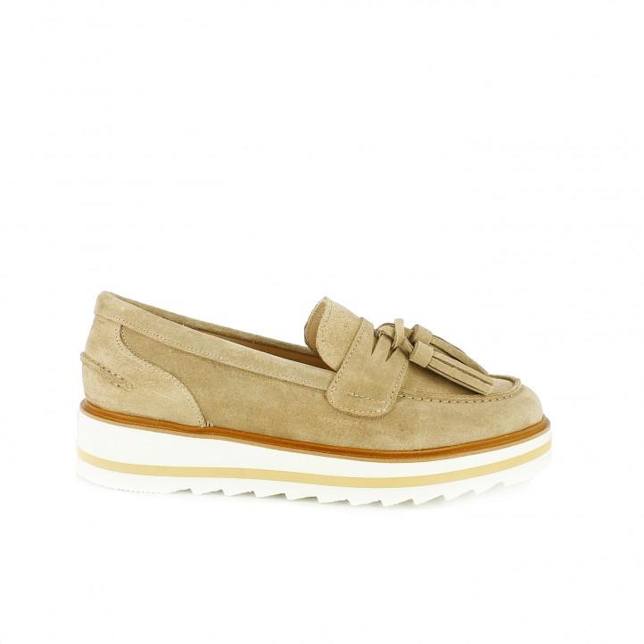 zapatos planos redlove mocasines de piel con plataforma