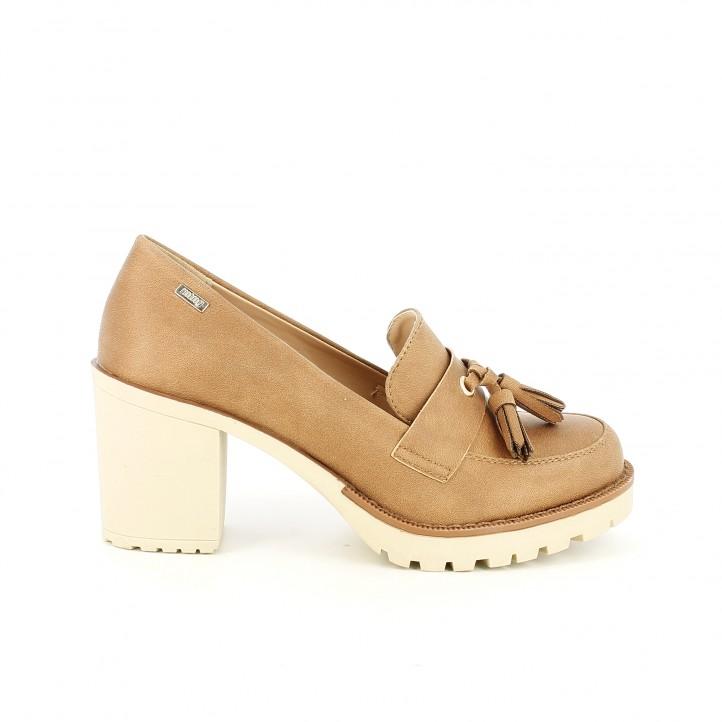 zapatos tacon mustang mocasines marrones
