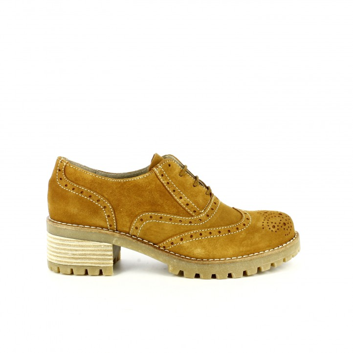 zapatos tacon redlove oxford marrones de piel con brogue
