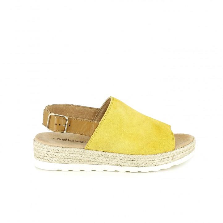 sandalias planas redlove amarillas de piel con esparto