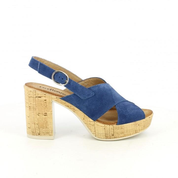 sandalias Redlove tacon azules de piel