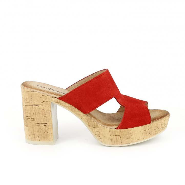 sandalias tacon redlove rojas de piel abiertas