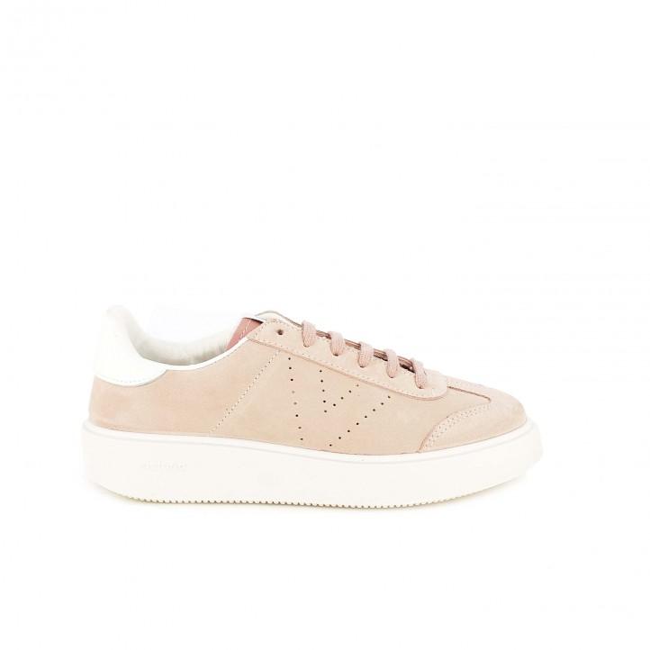 zapatillas deportivas victoria rosas con cordones y plataforma
