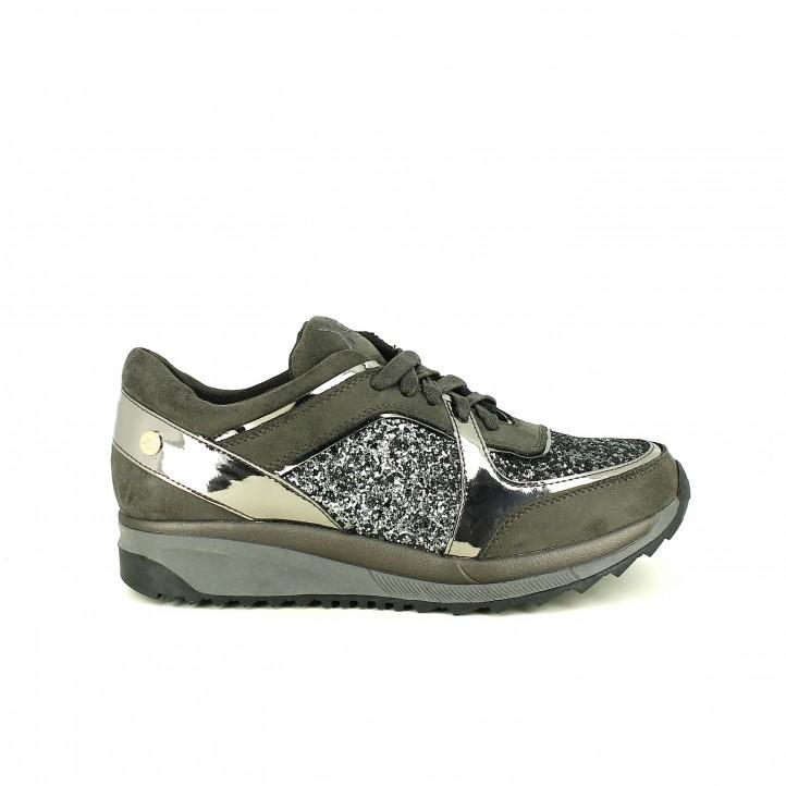 zapatillas deportivas xti grises con charol y glitter