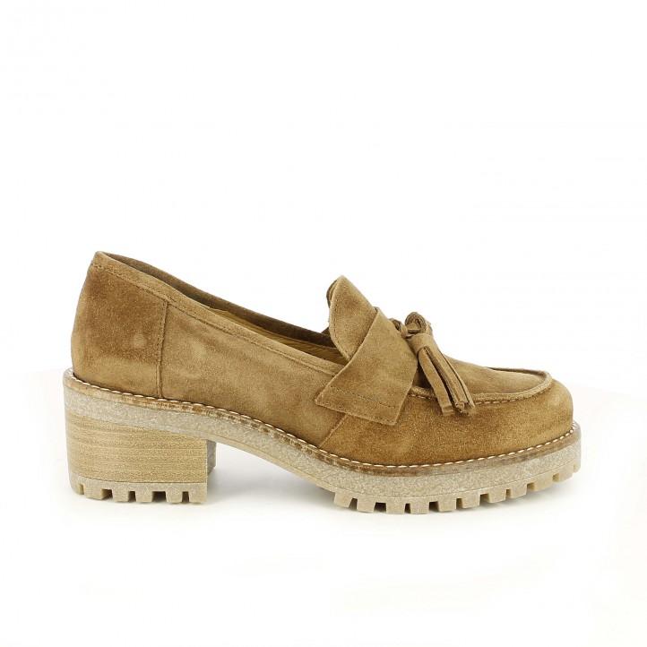 zapatos tacón redlove marrones de piel con borlas