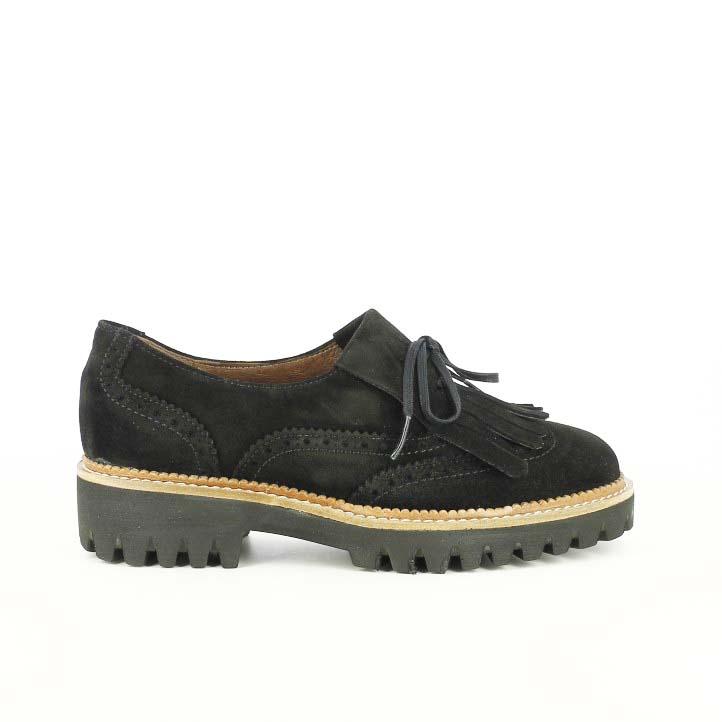 zapatos tacón redlove negros de piel con flecos