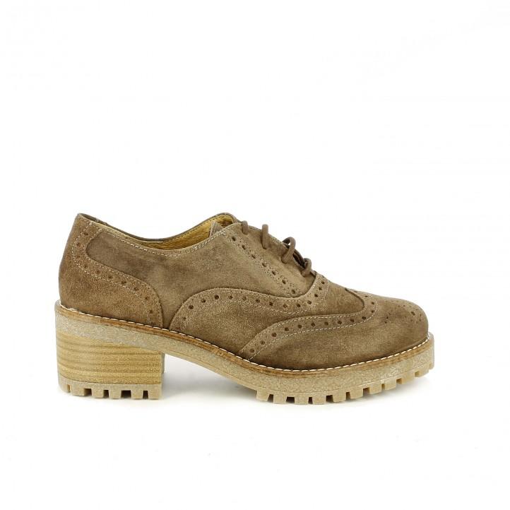 zapatos tacón redlove oxford de piel marrones con brogue