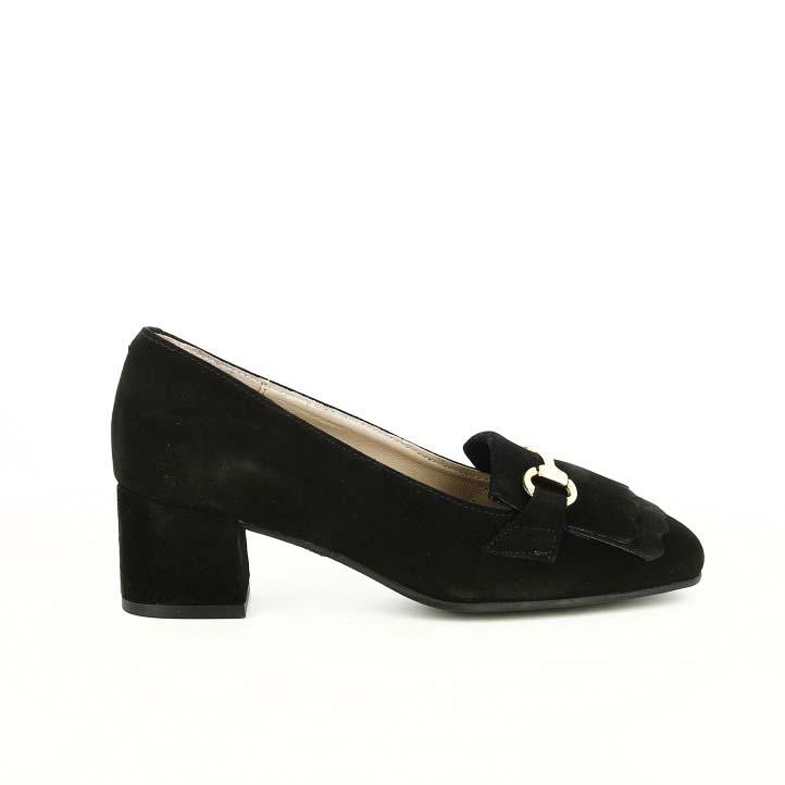 zapatos tacón suite009 negros piel con flecos