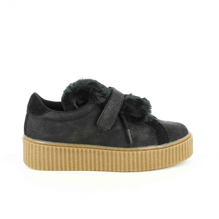 zapatillas lona gioseppo negras con pelo y suela creeper