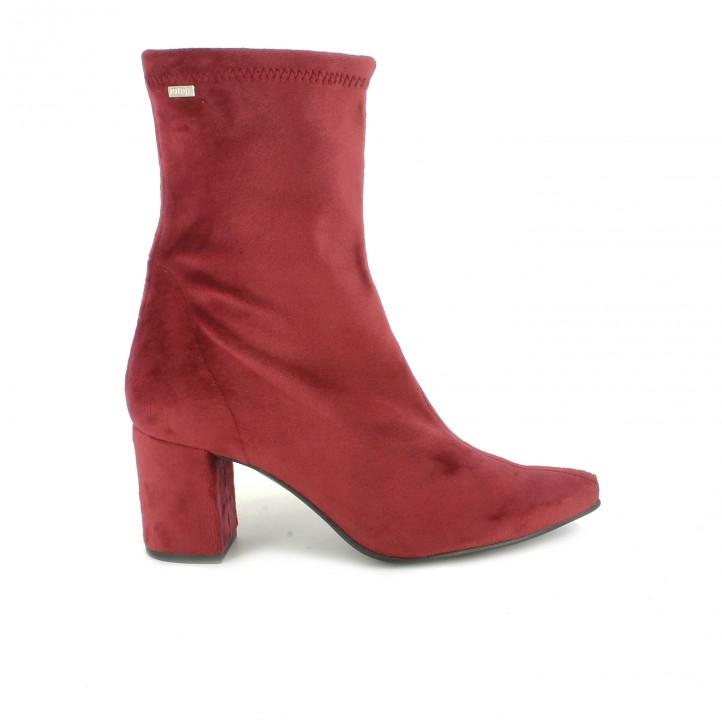 botines tacón mustang rojos caña alta - dime qué zapatos llevas