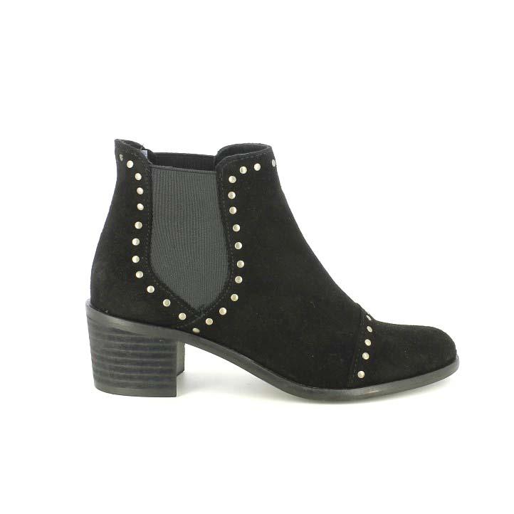 botines tacón redlove chelsea negros de piel con tachuelas - dime qué zapatos llevas
