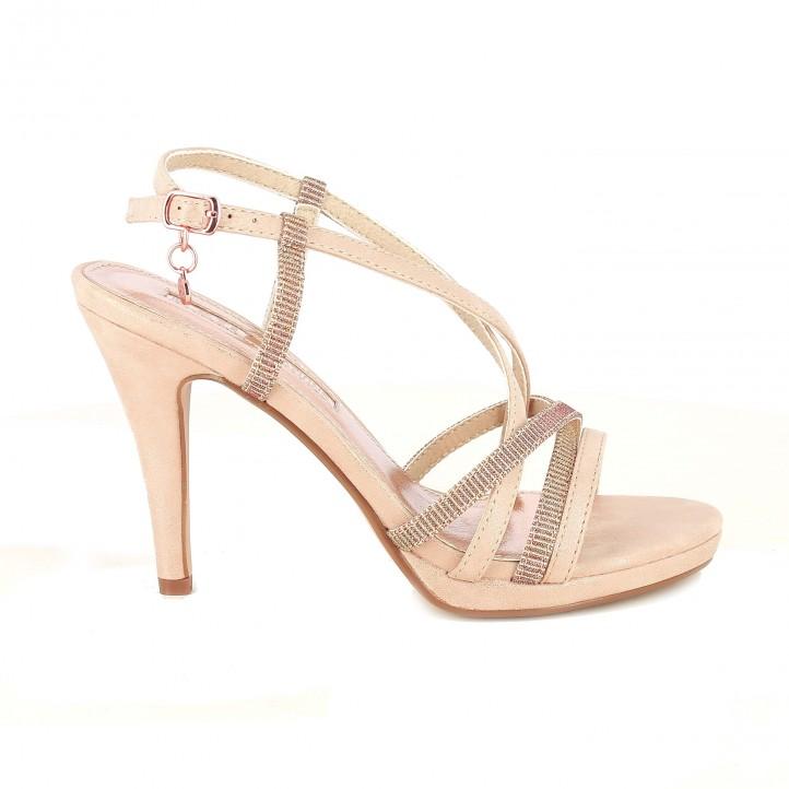 sandalias tacón xti nude con tiras - dime qué zapatos llevas