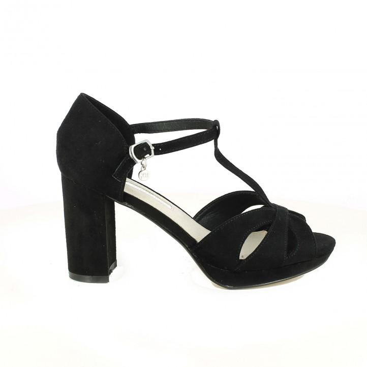 sandalias tacón xti t-strap negras - dime qué zapatos llevas