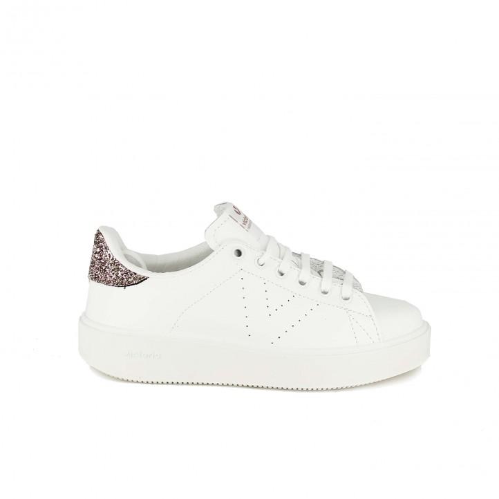 zapatillas deportivas victoria blancas con plataforma y glitter - dime qué zapatos llevas