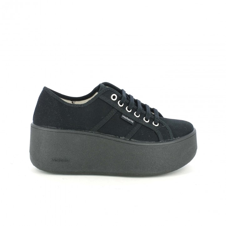 zapatillas lona victoria negras con plataforma - dime qué zapatos llevas