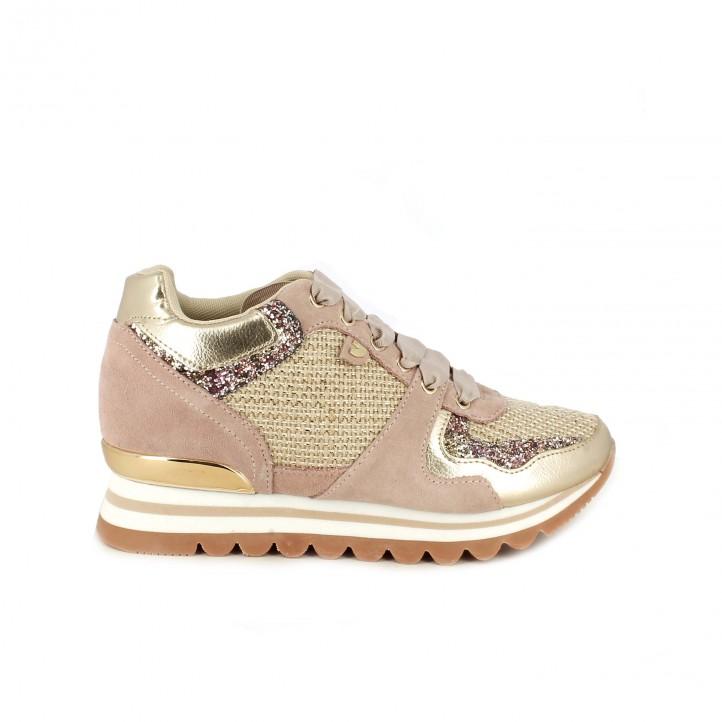 c6c0814f20bd3 Zapatillas deportivas Gioseppo rosas y doradas con cuña
