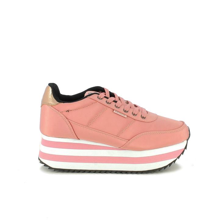 Zapatillas deportivas Victoria rosas con plataforma de rayas - zapatillas rosa