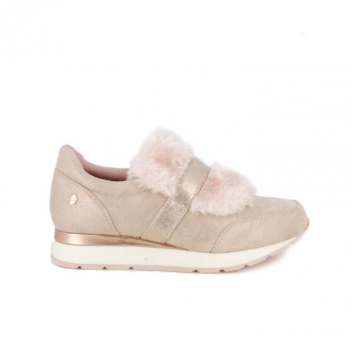 Zapatillas deportivas Xti rosas con pelo - zapatillas rosa