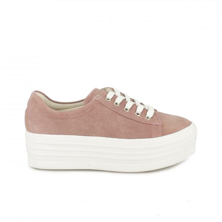 Zapatillas lona Owel rosas de serraje con plataforma - zapatillas rosa